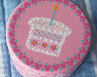 Hand Painted Love Boxes Happy Birthday Cake Box Pink Wood