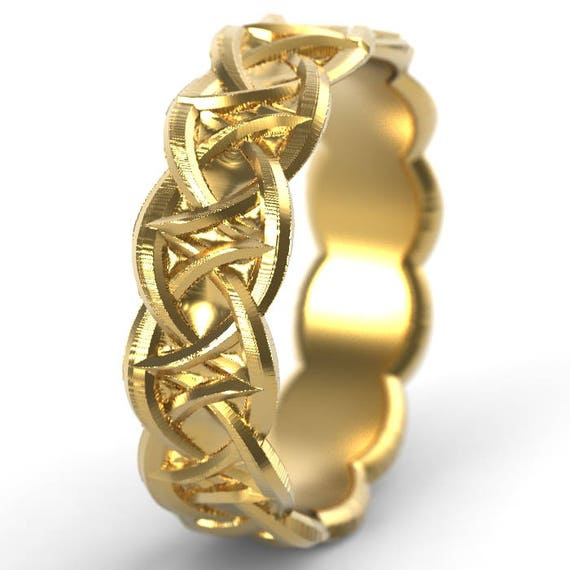 Gold Celtic Wedding Ring With Celtic Knotwork Design in 10K 14K 18K or Palladium, Made in Your Size Cr-1035