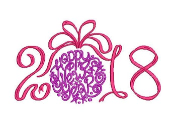 happy new year 2018 embroidery design