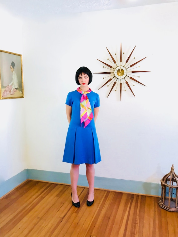 60s MOD Dress, Scooter girl dress, Drop waist dress, Blue Wool Dress, Scarf Bow Ascot, Vintage 60s dress, 1960s MAD MEN, Pussy bow dress, L