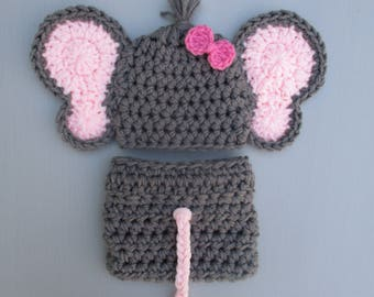 Elephant Baby Outfit Baby Girl Elephant Outfit Crochet Elephant Outfit Infant Newborn Baby Handmade Photography Prop