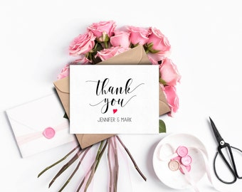 Personalized Wedding Thank You Card, Rustic Wedding Thank You Cards, Custom Thank you Cards Wedding, Personalized Thank You Cards, Note