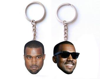 Kanye West Keychain, emoji keychain, Kim and Kanye,   Kanye Shirt, Keychain celebrity, Keychain polymer clay, Keychain for a gift