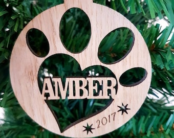 Personalised Paw Bauble Decoration, Laser cut with your pets name, made from Oak