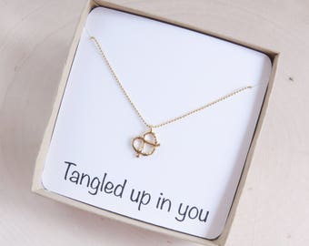 Knot Necklace | Pretzel Necklace | Best Friend Gift | Girlfriend Gift | Friendship Necklace | Personalized Gift | Gift for Her