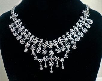 Vintage Silver Filigree Tribal Bib Necklace (No. 1275)
