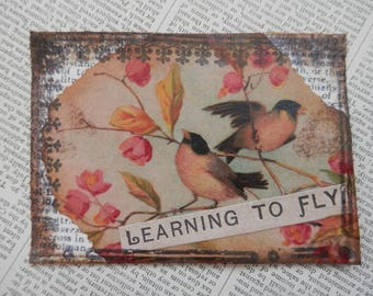 "SALE ACEO ATC one-of-a-kind Original ""Learning to Fly"" Artist Trading Card"
