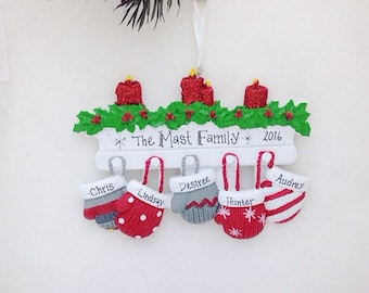 5 Family Mittens Ornament / Personalized Christmas Ornament /  Christmas Ornament / Stocking Stuffer / Family Tradition