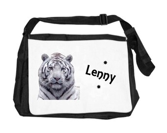 Personalized with name White Tiger shoulder bag