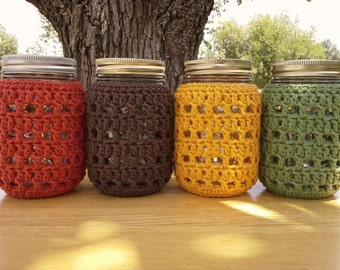 Crochet Mason Jar Cozy - Pint Sized Jar Cover - Bottle Cozy - Luminary Cover - Cotton - Harvest Fall Colors - Food Gift Idea - READY TO SHIP