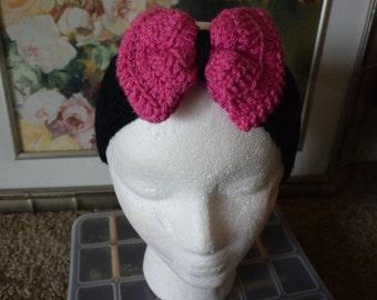 Crochet headband, Bow Crochet Headband, Headband, Ear warmer, Crochet Ear warmer, Bow Ear warmer, Pink Crochet Headband, Black Headband