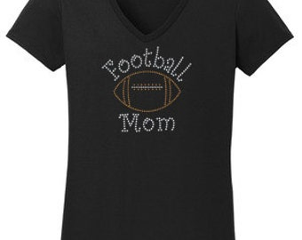 Football Mom Rhinestone T-Shirt Made to order