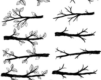 "Branch Silhouettes Clipart""BRANCH SILHOUETTES"" clip art pack,Tree Branchs,Branchs,Silhouettes,Branch,Scrapbook, Instant Download Sh004"