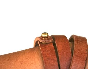 Leather Wrap Bracelet with brass stud