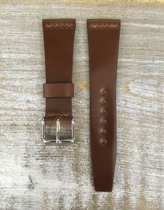 20/16mm Bourbon VTG style Horween Shell Cordovan watch band - middle stitch