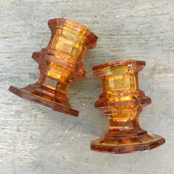 vintage amber glass candleholders - candlestick holder set - boho wedding decor