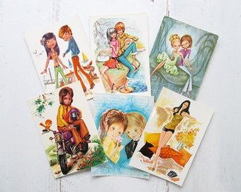 SALE Vintage Retro Postcards. Set of 6. From the 70's. Couples, teenagers.