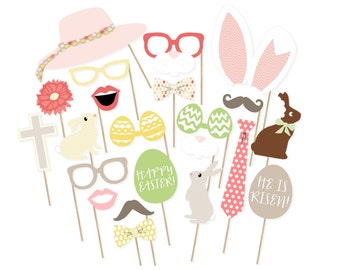 Rustic Easter Photo Booth Props - Printable Spring Photo Booth Props - Easter Photobooth - Printable Easter Props