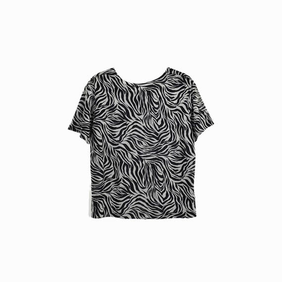Vintage 90s Black Mesh Zebra Tee/ Stretchy Zebra-Print Top / Grunge Mesh Tee - women's large