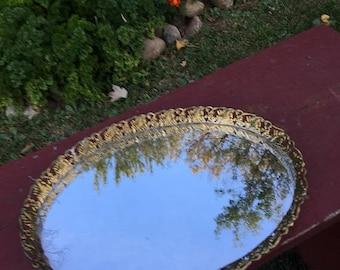 Vintage Filigree Mirror Tray / Dresser Tray / silver Plated Vanity tray