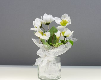 Silk flower arrangement White flowers real touch artificial flowers silk flowers birthday gift wedding gift mothers day gift home decor