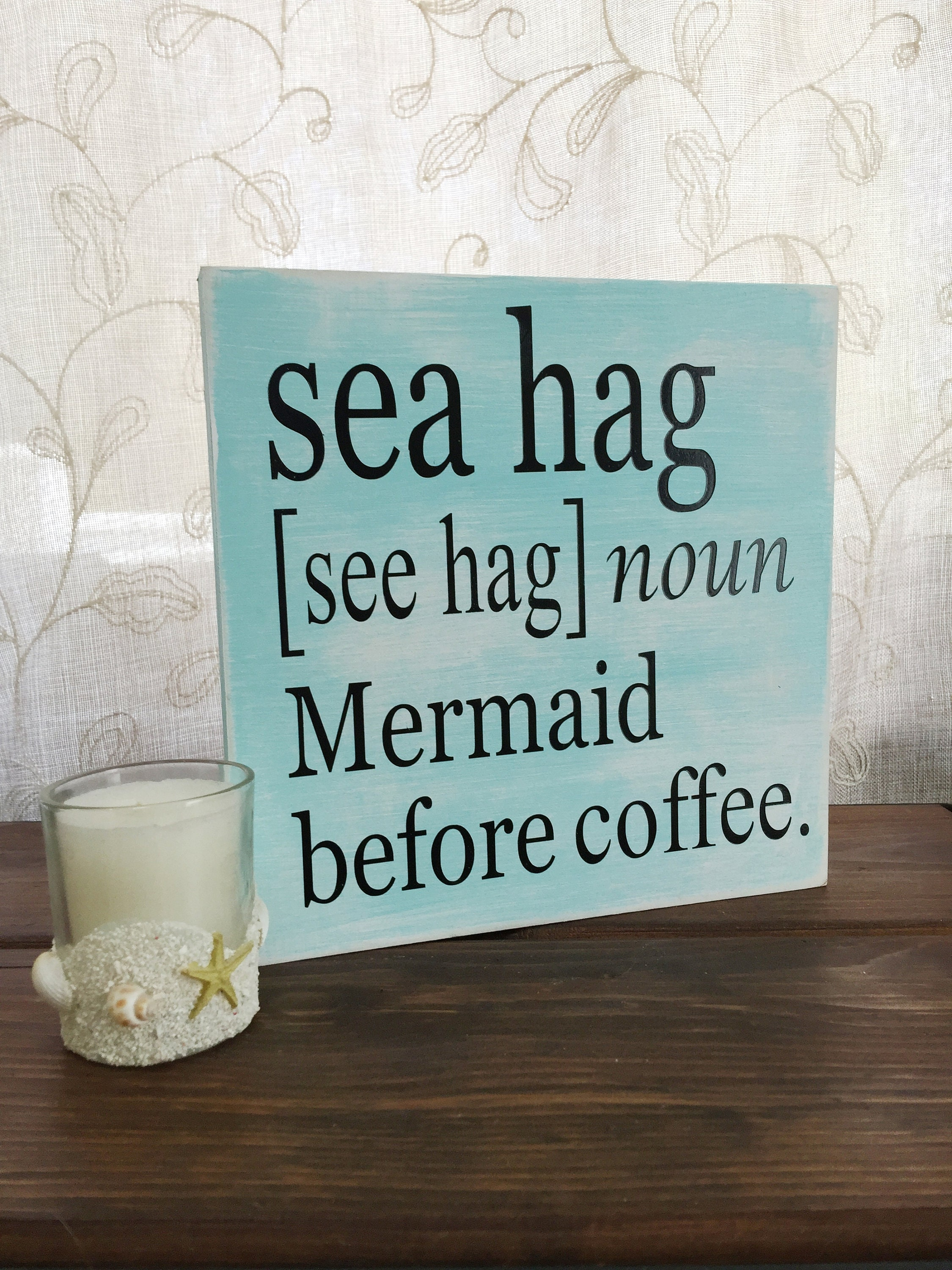 Coffee bar sign sea hag sign mermaid sign coffee lover gift