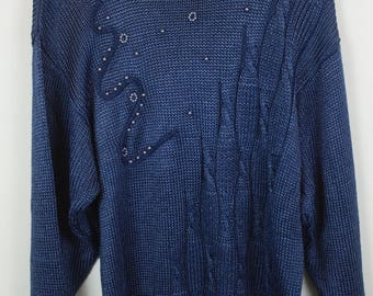 Vintage Sweater, Vintage Knit Pullover, 80s, 90s, blue, pearl detail, oversized look