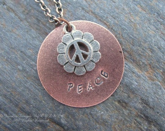 Peace - Hand Stamped Copper Metal Necklace
