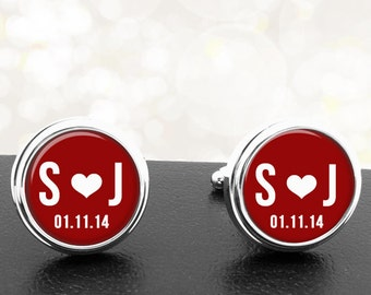 Personalized Cufflinks Initals Heart and Date Handmade Cuff Links for Grooms Fiance Wedding Sweethearts Dads Men