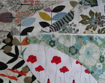 Scandinavian Fabric Remnants; Colorful Cotton Fabric Remnants / Floral Fabrics Lot of Scraps for DIY project, Doll Making, Sewing, Quilting