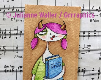 Bookish girl ACEO / ATC original watercolor