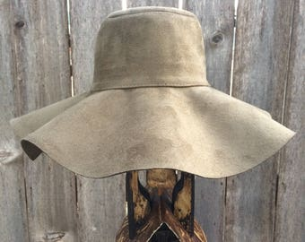 Olive Green Wide Brim Felt Floppy Hat
