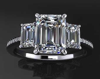 kennedy ring - 1.75 carat emerald cut NEO moissanite engagement ring, 3 stone ring