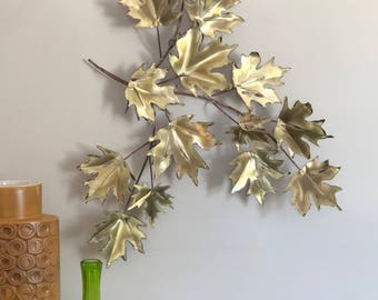 Curtis Jere era Vintage Brass Leaves Bergasse Wall Art Sculpture