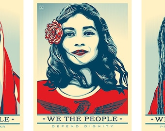 Set 3 individual pcs - WE THE PEOPLE Public Poster  (Are greater than fear, Defend, Protect ) Print on Fine Paper