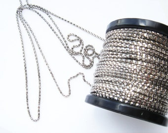 1- 25 meter spool of Diamond Faceted silver tone or color plated vintage chain HC152.