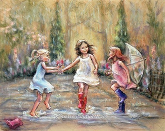 "Dancing, rain, wall art, three girls ""Come Dance With Me My Friends!"" Laurie Shanholtzer   Canvas or  paper Art prints of original painting,"