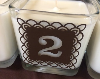 Wedding Table Number Marker, wedding reception centerpiece candle