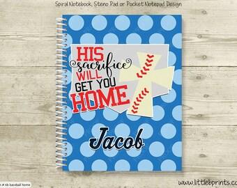 Baseball Home Personalized Spiral Notebook Journal Prayer Journal Diary Christian Religious