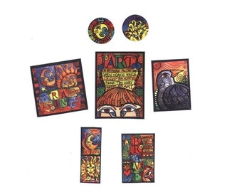 Package lot of Art Mini Magnets - Magnet Pack of 8 Sun and Moon, Loteria ATC, ACEO