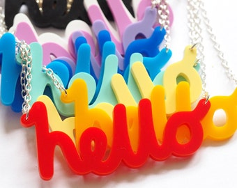 hello Necklace, Laser Cut Necklace, Acrylic Necklace, Laser Cut Jewellery, Ice Breaker Necklace, Handmade in Brighton, uk