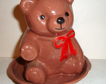 Vintage Brown Bear Planter, Container, Indoor Pot, Kitschy, Baby Room Decor, Red Bow  (494-12)