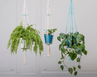 With flower pot, small hanging macrame, turquoise and white: 70 cm plant holder