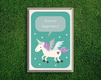Greeting Cards | You are Legendary Card, Unicorn, Thank You, Congrats, Cute Funny & Quirky Pun, Silly.