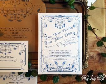 100 Vintage Wedding Invitations - Art Deco Wedding Invitations - Art Nouveau Invitations - Navy and Gold - By My Lady Dye