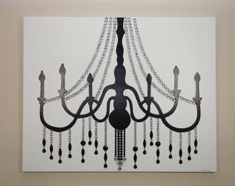 Silver & Black Chandelier Painting (30x24) Pop Art, Rhinestones, Home Decor Wall Art