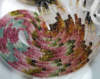 14 Inch-Super-FINEST-  Multi Tourmaline faceted rondelles 4mm full 14 inch strand,Super Finest Quality