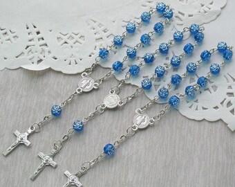 24 Pcs Rosebud Mini Rosary Favor for Baptism Boy / Christening / First Communion / Sweet 15 / Wedding / Recuerdos de Bautizo JA164-Blu