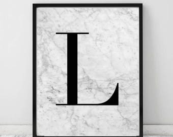 Initial Marble Typography Print