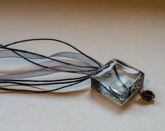 Grey pendant with Skeleton leaf and detail beads